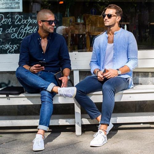 #1. Dark blue denim & light jean #2. light blue denim & blue chino + converse