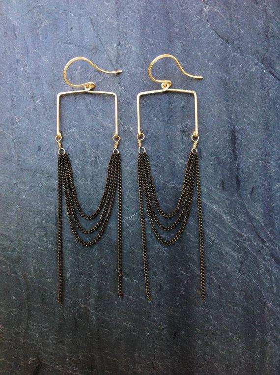 www.cewax.fr aime ces Boucles d'oreilles de martelé or Sqaure Arcade boucles d'oreilles en boucle bijoux-Sterling Silver géométrique-or géométrique-Arcade-Arc géométrique-Portland bijoux