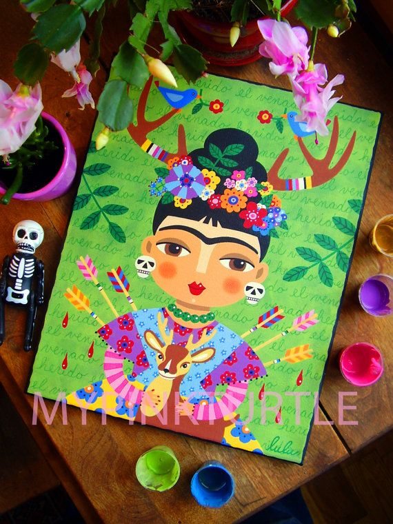 For sale ...  Frida Kahlo with Antlers and Deer by LuLu MyPinkTurtle