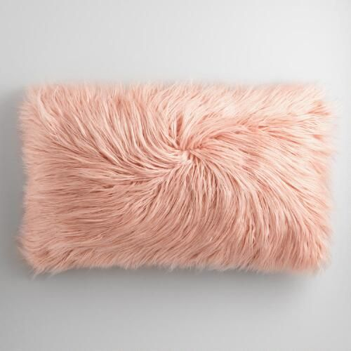 One of my favorite discoveries at WorldMarket.com: Oversized Blush Mongolian Faux Fur Lumbar Pillow