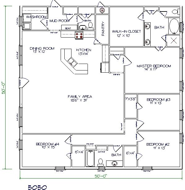 50 X50 Barndominium Floor Plans By Henry Abraham Barn Homes Floor Plans Pole Barn House Plans Barndominium Floor Plans