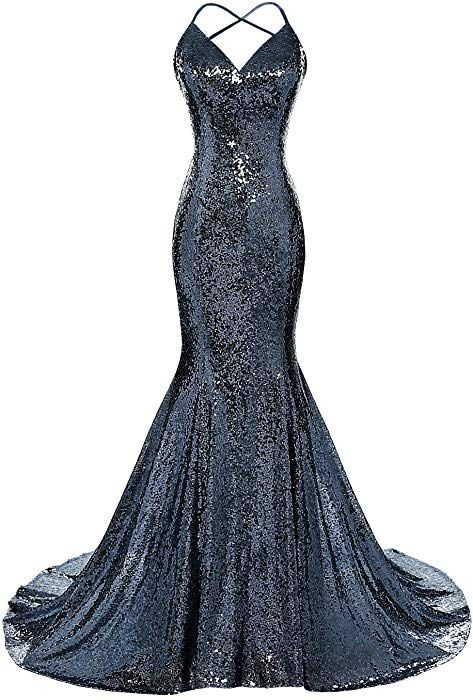 a9155f66 Amazon.com: DYS Women's Sequins Mermaid Prom Dress Spaghetti Straps V Neck  Backless Gowns Navy US 0: Clothing