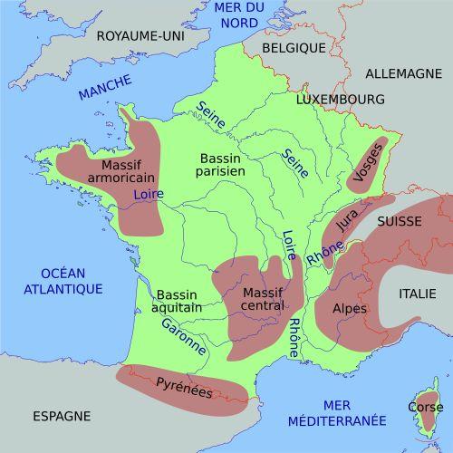 Carte de France simplifiée avec massifs montagneux