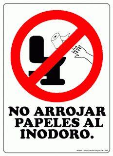 No tire el papel higi nico en el inodoro por favor for Objetivo de bano de basura