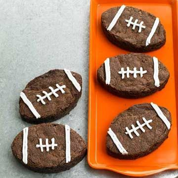 There are few desserts more festive than these fudgy brownies that can be cut into a football shape without crumbling.