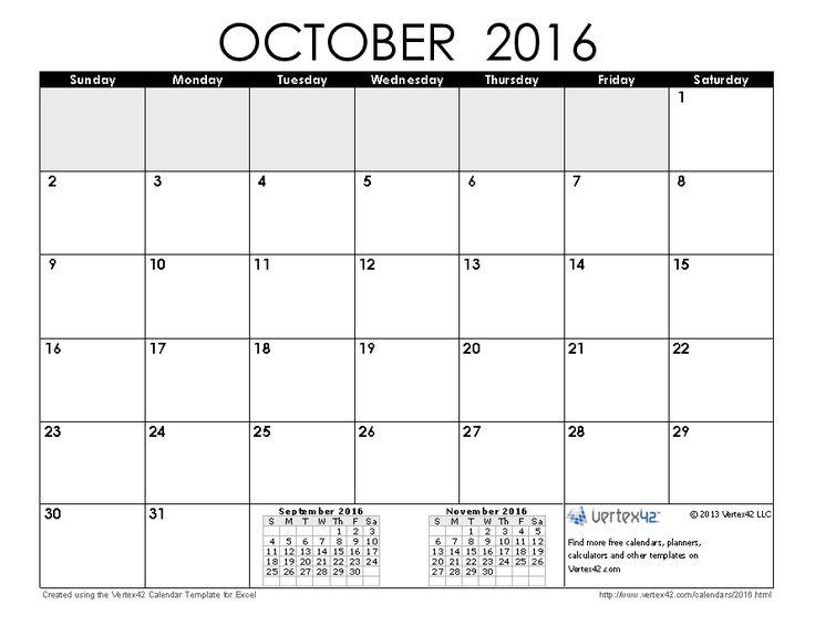 Download a free October 2016 Calendar from Vertex42.com