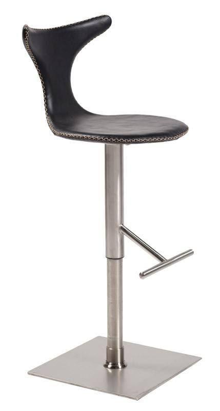 Dolphin+Barstol+-+Sort+læder+-+Lækker+barstol+i+sort+læder+og+base+i+børstet+stål.+Sædehøjden+kan+indstilles.