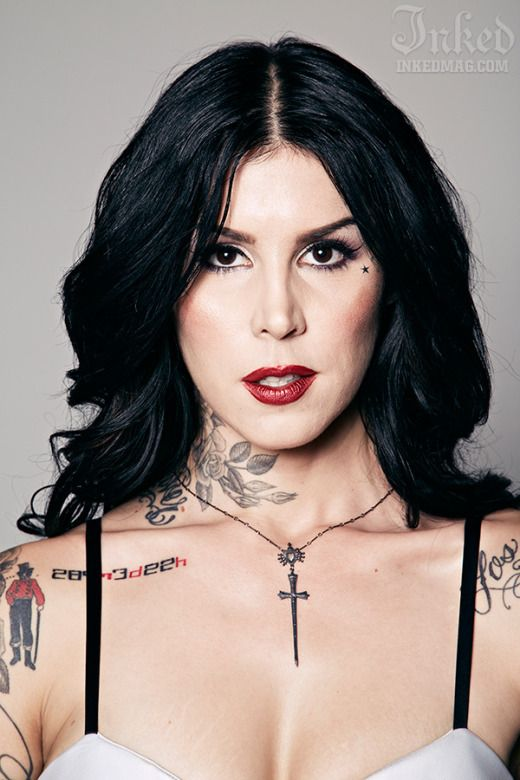 The fabulous kat von d has graced the cover of inked for Kat von d cover up tattoo