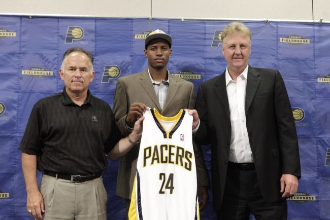 President of Basketball Operations Larry Bird in 2010 with the #Pacers' draft pick, Paul George.