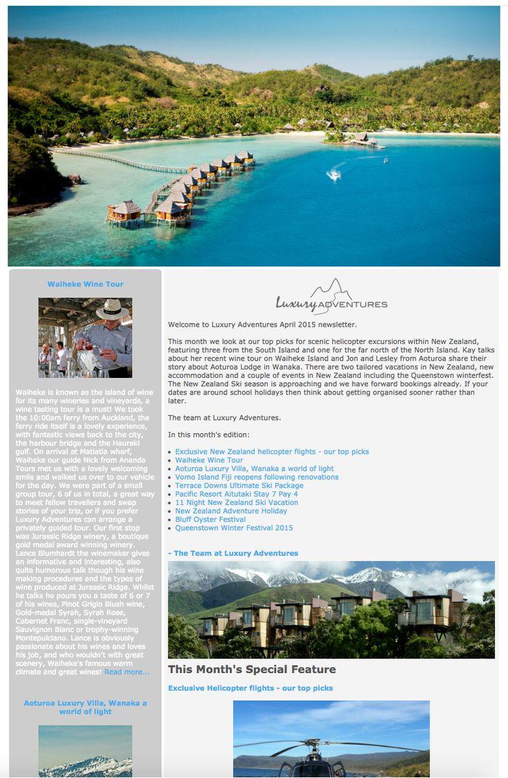 Luxury Adventures April 2015 Newsletter