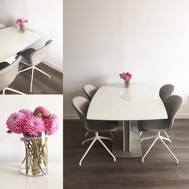 Pink pop! Thanks to @martinamickos for brightening a dark November day with a dash of pink – and of course for sharing this photo feat. our Adelaide chairs and Milano table. #BoConcept #diningroom #diningtable #diningchair #pinkflowers #danishdesign