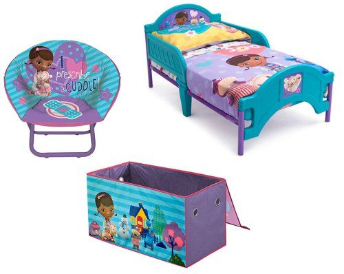 Disney Doc McStuffin's Bedroom Set, Toddler Bed, Toddler Bedding, Saucer Chair, Collapsible Toy Box, All Four Items Delta http://smile.amazon.com/dp/B00J4Z3GZI/ref=cm_sw_r_pi_dp_KTpLtb0QYX2N3FHZ