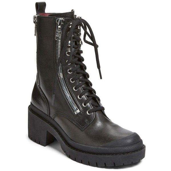 """MARC BY MARC JACOBS 'Zip It' Multi Zip Boot, 2 1/4"""" heel ($498) ❤ liked on Polyvore featuring shoes, boots, ankle booties, ankle boots, black, platform ankle boots, platform booties, lace up platform bootie, black lace-up boots y black lace up booties"""