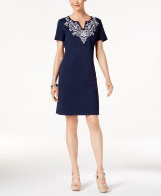 Karen Scott Cotton Printed T-Shirt Dress, Only at Macy's - Black XXL