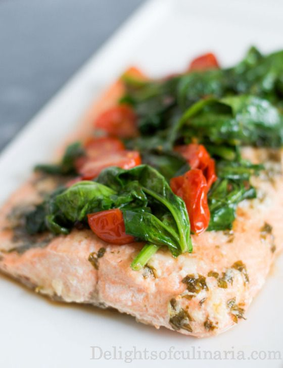 Salmon with Spinach and Tomatoes  Delights Of Culinaria