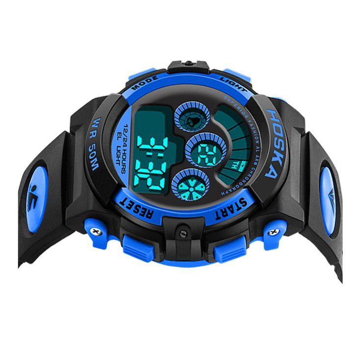 HOSKA Men Sport Digital Watch Waterproof Luminous Numbers Alarm Function
