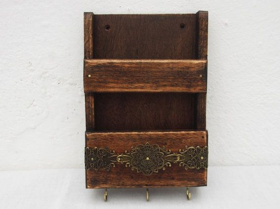 Rustic Mail Holder And Key Rack Decorative Wooden Wall