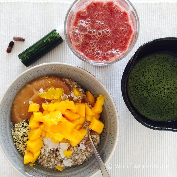 Geballte #Nährstoffe: Frühstücks-#Bowl, #Weizengrassaft-Shot, #Matcha und #Antiox