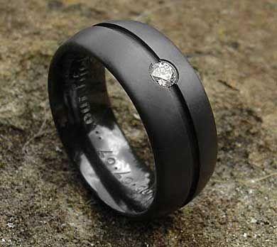Gothic Mens Engagement Rings Diamond Set Black Ring Mens Black