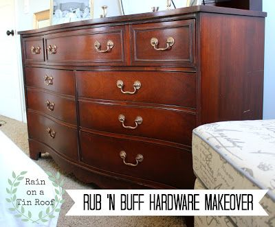 Rain on a Tin Roof: Master Bedroom Makeover Series: Rub 'n Buff Hardware Makeover