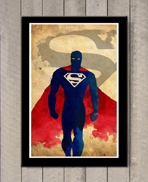Minimalist Superhero Poster Superman por MINIMALISTPRINTS en Etsy