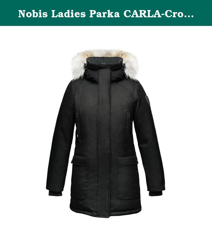 Nobis Ladies Parka CARLA-Crosshatch Black. THE CARLA LADIES PARKA Technical Features: • Premium Canadian Origin White Duck Down for ultimate warmth • 100% polyester crosshatch shell • Laminated Sympatex® membrane • Seam seal construction • Windproof and waterproof (10,000mm) • Breathable (10,000mm) outer shell • DWR (Durable Water Repellent) coated Design Features: • Highly breathable down proof free hanging liner • Two-way zipper • Centre front wind flap with convenient magnetic closures…