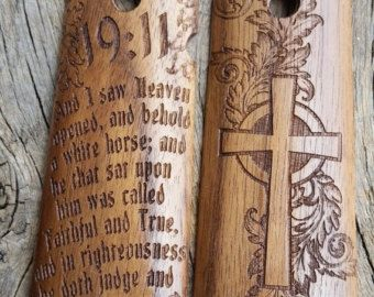 ON SALE 1911 Grips Laser Engraved Maple Psalms by CustomWarrior