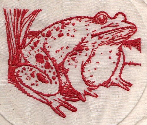 Red work frog by Bascom Hogue, via Flickr