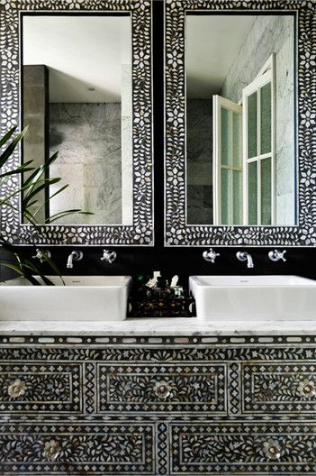 This is truly amazing! Built in inlay vanity (looks like Black with Mother of Pearl Inlay) We can definitely arrange this, being an importer of this gorgeous product