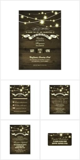 Twinkle Lights Wedding Set Rustic Country wedding suite collection with dark brown wood background, sparkly string lights and stylish typography with a banner. The best matching invitations, RSVP cards, save the date cards, accommodation cards, address labels, and more for bride and groom who use twinkle lights in the theme of their wedding decor.
