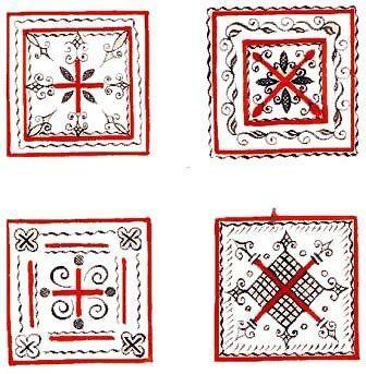 Mezen painting Почти все мезенские орнаменты так или иначе связаны с темой плодородия, изобилия. Во множестве и разнообразии изображены в них распаханные поля, семена, корни, цветки, плоды. Орнамент может строиться в два ряда и тогда элементы в нем располагаются в шахматном порядке. Важным символом был ромб, наделенный множеством значений. Чаще всего ромб являлся символом плодородия, возрождения жизни, а цепочка из ромбов означала родовое древо жизни.