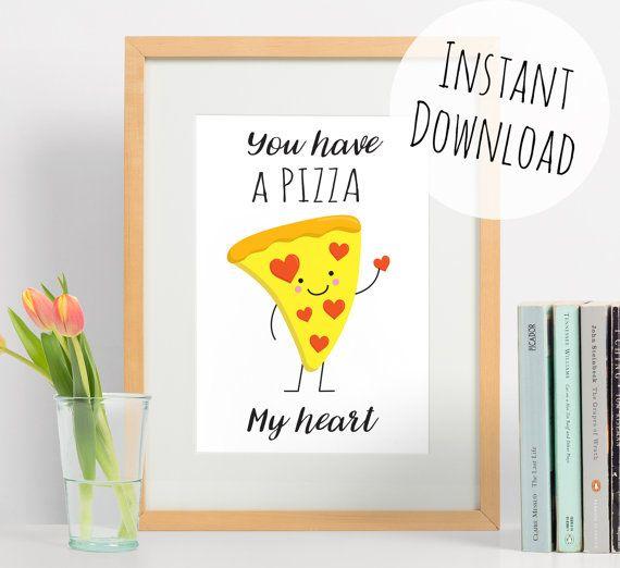 Cute Pizza Print Food Pun Art You Have a by DoodleAndStitchShop