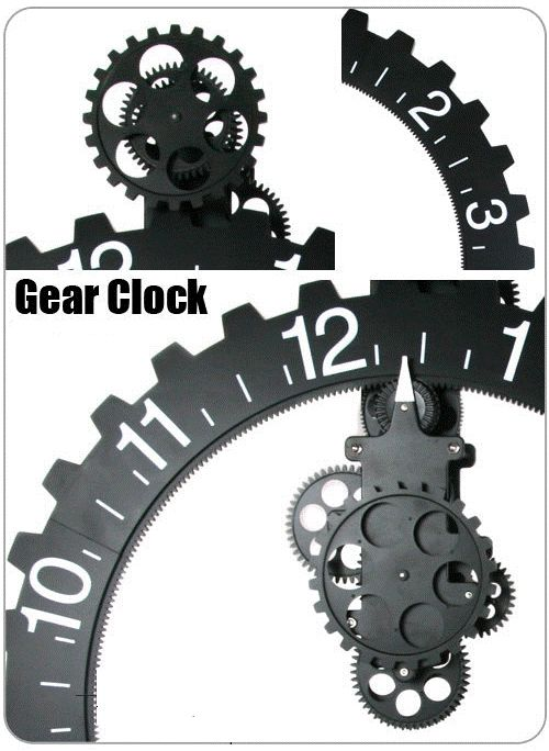 mechanical gear wall clock home wheels and clock