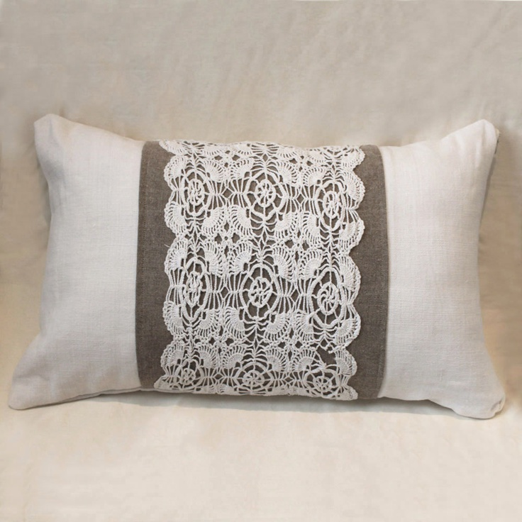 Shabby chic 13x20 cushion made of antique hand loomed fabric and vintage doily…