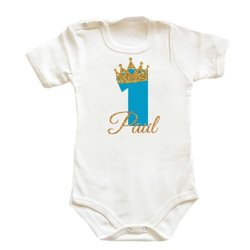 Body bebe pentru bebelusi cu o coronita sclipitoare de print si cifra 1…
