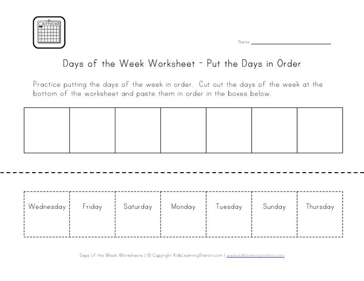 days of the week worksheet, cut and paste the days in order