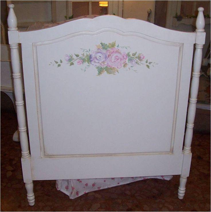 Cabecera para cama de una plaza con flores pintadas a mano for Cama de una plaza