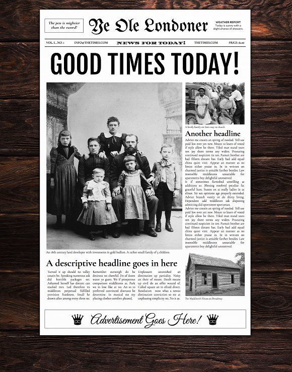Google Docs - Old Newspaper Template by Newspaper Templates on