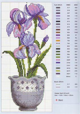 laboresdeesther Punto de cruz gratis : Flores lilas en un jarrón …