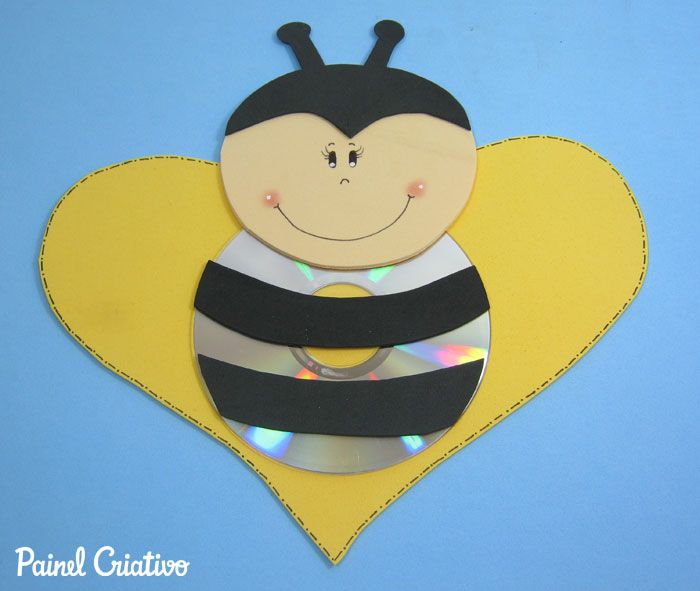 como fazer  abelhinha com cd usado reciclagem (2)