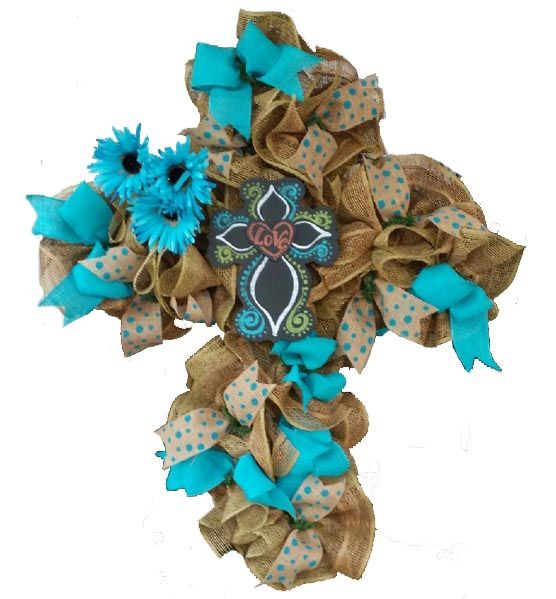 Yes Virginia, You can Make a Wreath)) - Trendy Tree Blog -  see this burlap cross made by Danyelle after watching our Trendy Tree videos