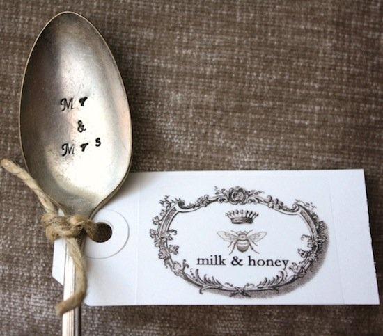 Handstamped wedding spoons