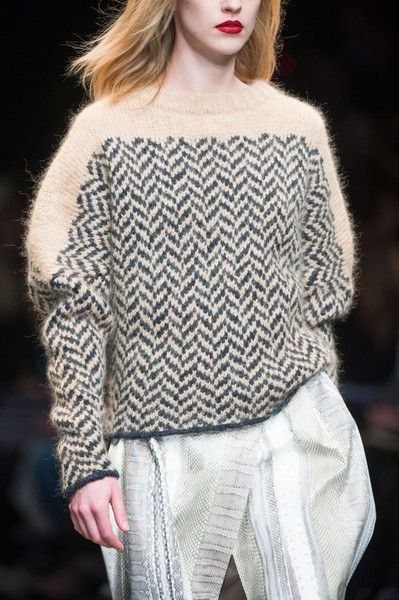 You always need a good collection of sweaters! [Trussardi 1911 Fall 2014 - herringbone patterned sweater]