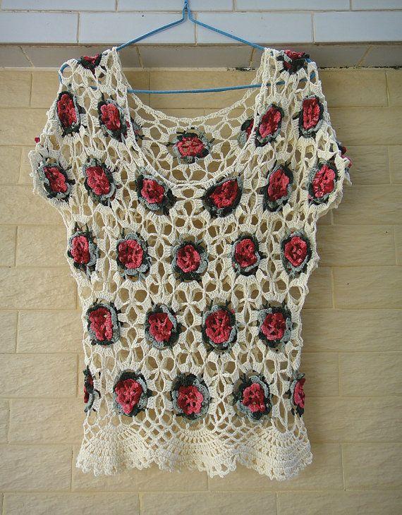 Crochet Floral Blouse Short Sleeve