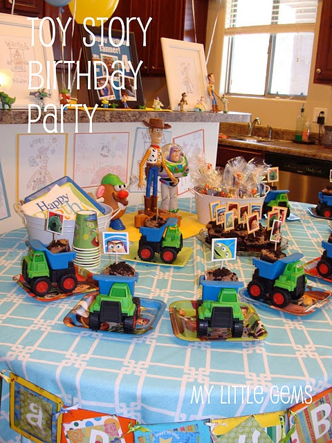 Toy Story Birthday Party Ideas (love the game- Throw the Army Men in the Tank!)