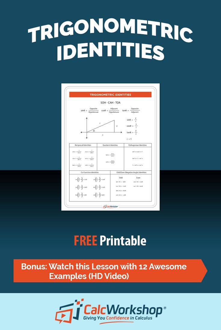 Trigonometric Identities Cheat Sheet - This reference sheet contains the following formulas: Pythagorean Identities, Half Angle and Double Angle Identities, Product-Sum Formulas, Quotient & Reciprocal identities. It even covers the all powerful SOH-CAH-TOA saying. It's a great reference sheet for both Students and Teachers in Precalculus or even Algebra 2. Grab your FREE copy today!
