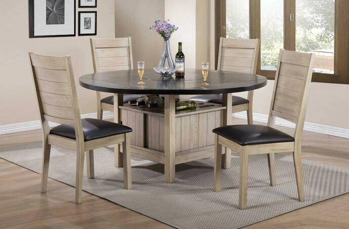 Acme 72005 07 5 Pc Ramona Rustic Oak Finish Wood Silver Faux Leather 60 Round Dining Table Set Dining Table In Kitchen Round Dining Table Sets Dining Furniture