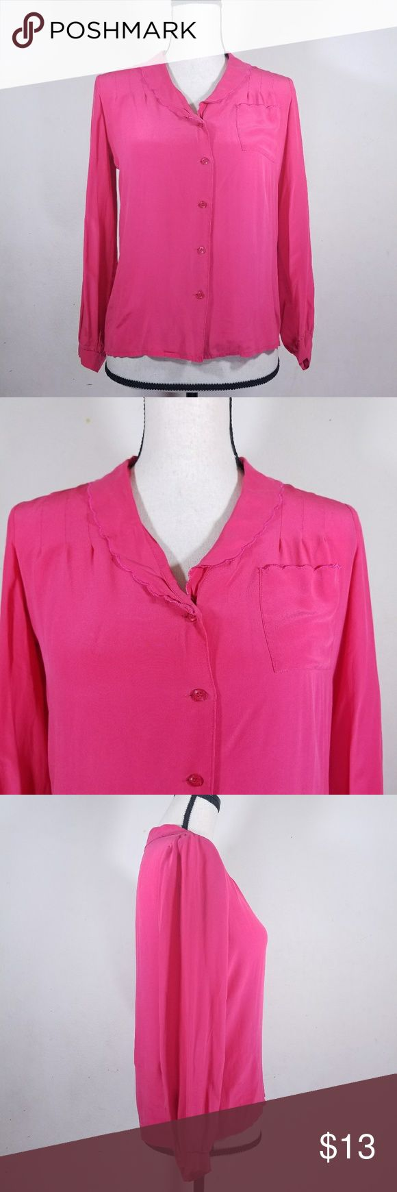 """Saint Pierre Coral Pink Silk Button Down Blouse Bright coral/pink silk button down top. Pleated shoukders and slightly ruffled collar. Some discoloration in the underarm area.  Underarm to underarm: 18.5"""" Sleeve length: 20.75"""" Total length: 23.25""""     SC Saint Pierre Tops"""