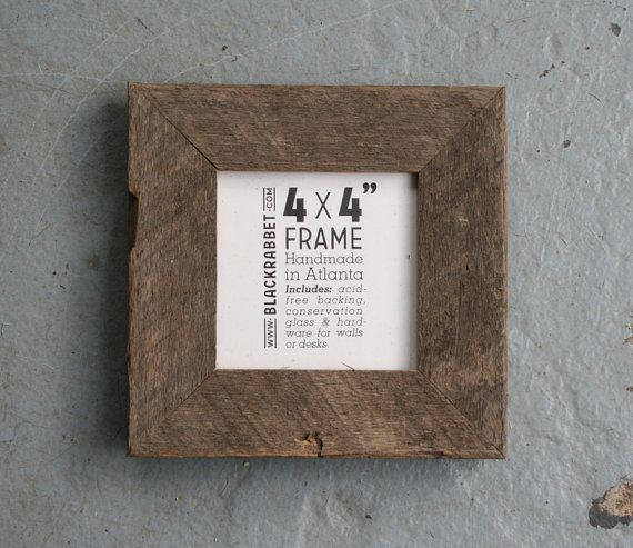 Natural Reclaimed Oak Picture Frame 4x4 by BlackRabbet on Etsy, $17.00
