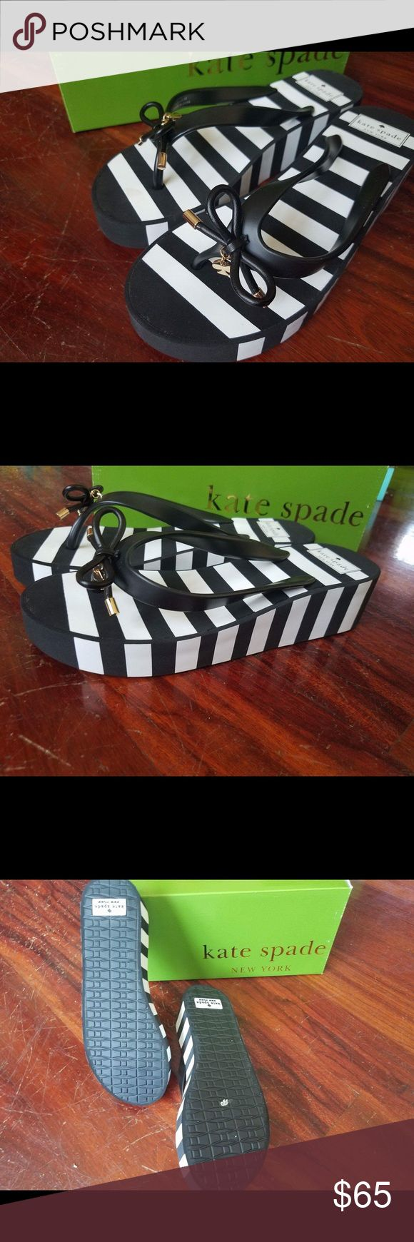 Kate Spade New York black and white striped wedges Case they do your black and white striped wedges brand-new in box 100% authentic kate spade Shoes Wedges
